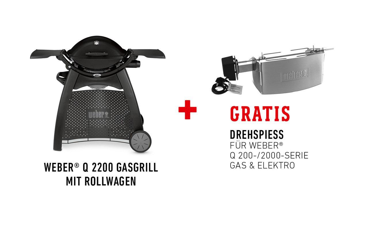 Weber Holzkohlegrill Drehspieß : Q gasgrill mit rollwagen black und gratis drehspieß im wert
